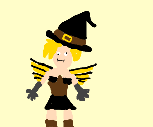 mercy(overwatch) with a witch hat