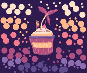 Hawaii-themed cupcake