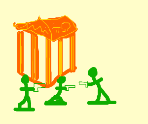 Army men protect The Parthenon but in Orange