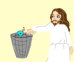 jesus throwing drawception in the trash