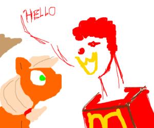 ronald mcdonald says hi to an apple nameJack