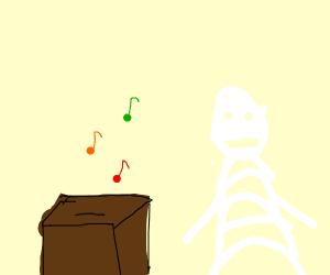 Skeleton listening to some nice music