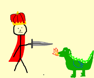 King killing a baby dragon
