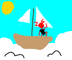demon on a boat in the sky