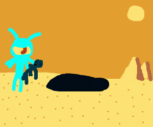 Man dragged into a pit by monster in desert