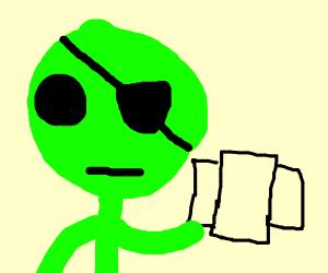 Eye patch alien has 3 cards left