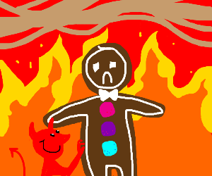 Gingerbread man in hell