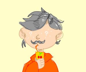 Eyeless Mustache man with Cherry juice