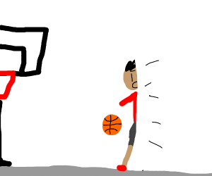 A basketball player with half their body gone