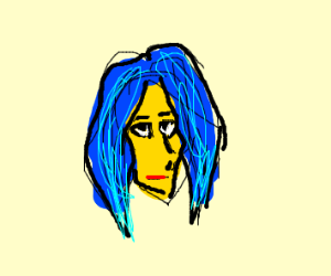 Blue hair on yellow face