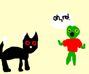 Demon Cat scares zombie