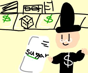 Monopoly Man eating Sugar