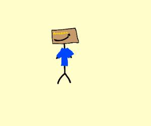 guy using amazon box as head