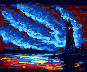 Lighthouse at late dusk.