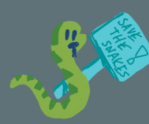 "Snake holding ""Save the Snakes"" sign"