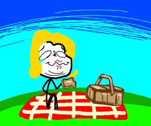 Woman at a picnic