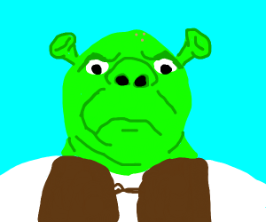 Shrek Looking Down At Donkey In The Film Drawception