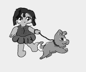 Anime girl walking a dog