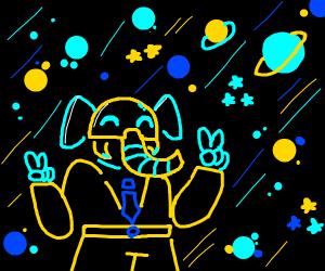 elephant explores space