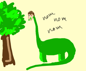 diplodocus with human face eats tress leaves