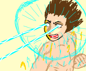 Anime boy powers up with laser eyes