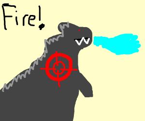 target on godzilla. FIRE!