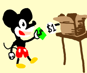 Mickey Mouse buying a Box
