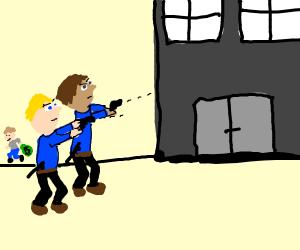 police shooting the wrong way