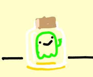 tiny ghost in a bottle