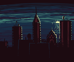 silhouette of a city at blue sunset