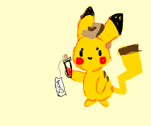 pikachu detective giving someone their dna