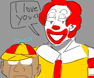 kid scared of Ronald McDonald
