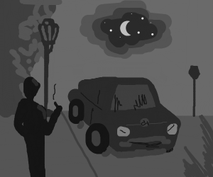 Film noir scene with streetlight, man and car