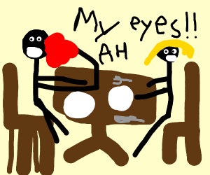 The date is ruined: Jim gets jam in his eyes