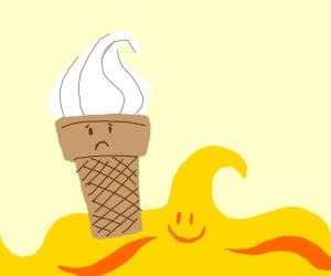 sad ice cream cone and happy yellow wave