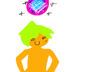 green haired midget at a disco