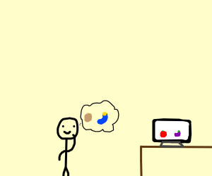 colorblind man looks at color palette on tv