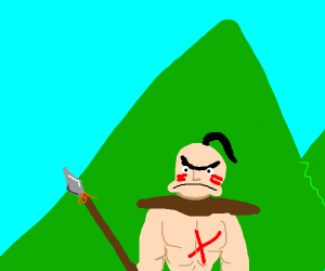 Primitive warrior in the mountains