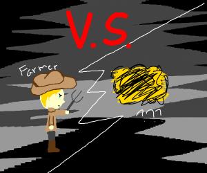 Farmer fighting