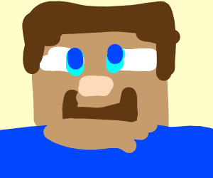 Steve from minecraft staring at you