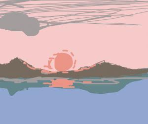 Sunset by lake