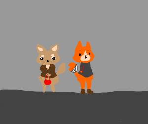 It rains on dog and injured fox