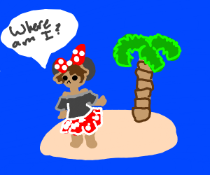 Male Minnie Mouse Cosplayer stuck on island