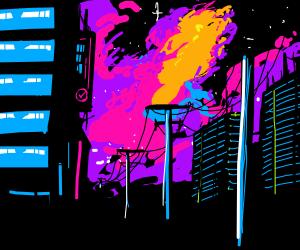 A neon city