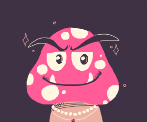 a pink fancy goomba