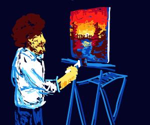 Bob Ross painting a sunset