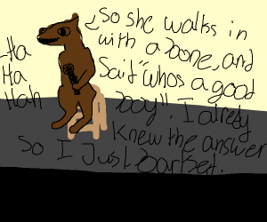 Dog standing on a stool