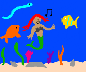 Ariel singing to fish