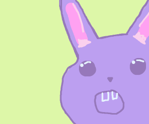 a purple shocked bunny