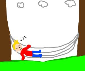 austrailian youtuber resting on hammock